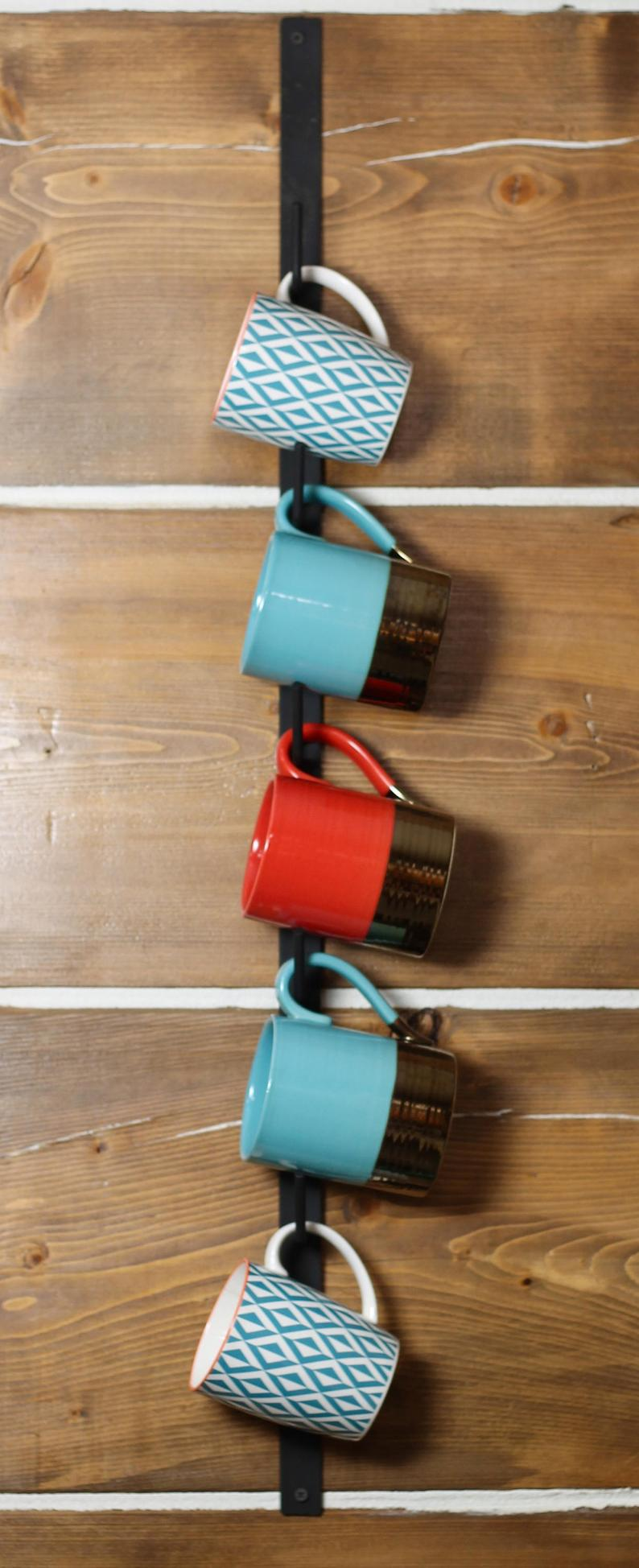 Farmhouse Cup Rack, Mug Rack, Coffee Cup Metal Wall Rack