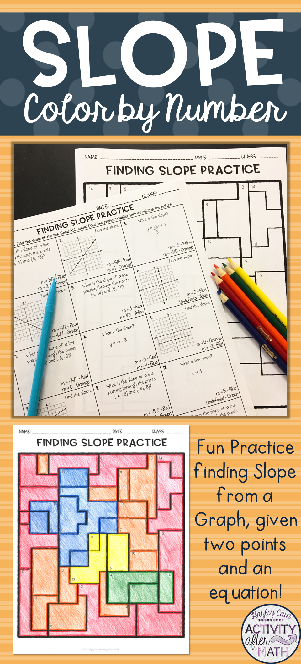 Finding Slope Coloring Activity Finding Slope Math High School Activities