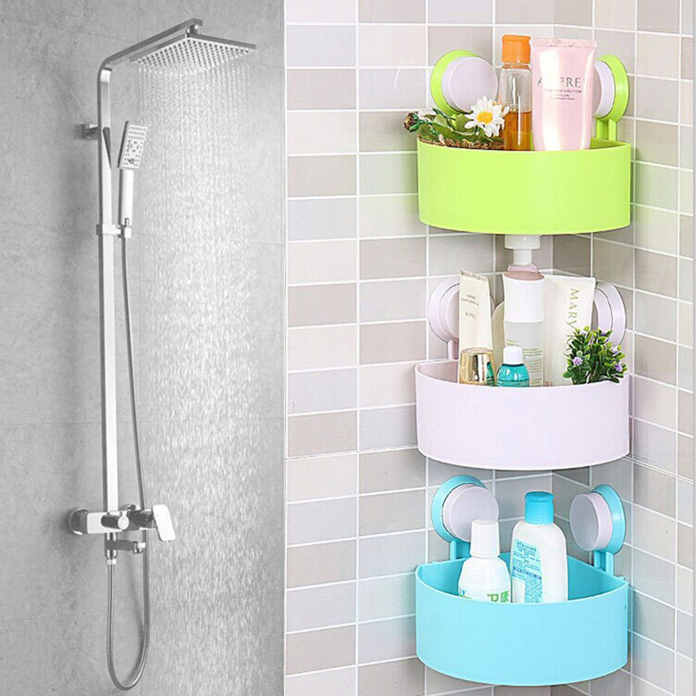 Plastic Bathroom Corner Storage Rack Organizer Shower Shelf Suction Cup Fe Shower Shelves Shower Rack Shower Storage