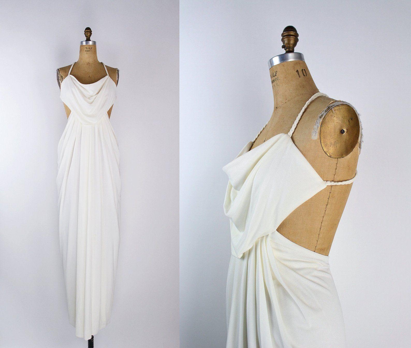 70s White Goddess Maxi Dress White Disco Dress Open Back Etsy Goddess Maxi Dress Disco Dress White Maxi Dresses [ 1342 x 1588 Pixel ]