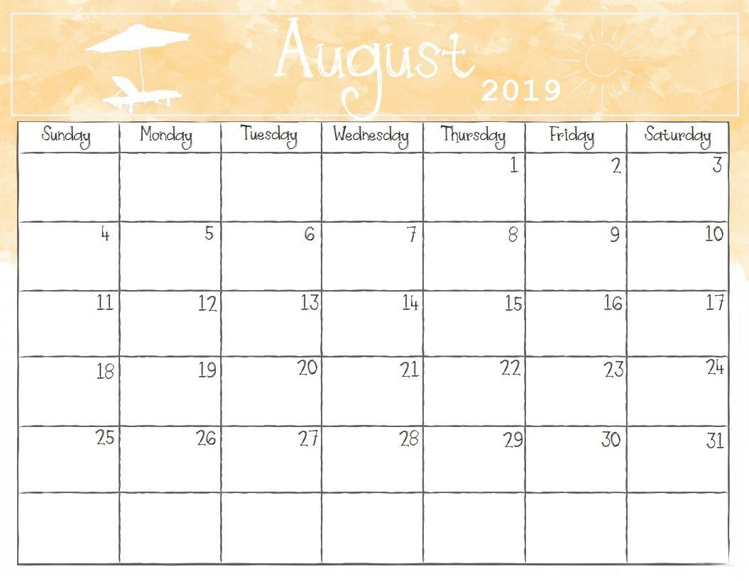 Cute August 2019 Calendar Printable Wallpapers Hd August