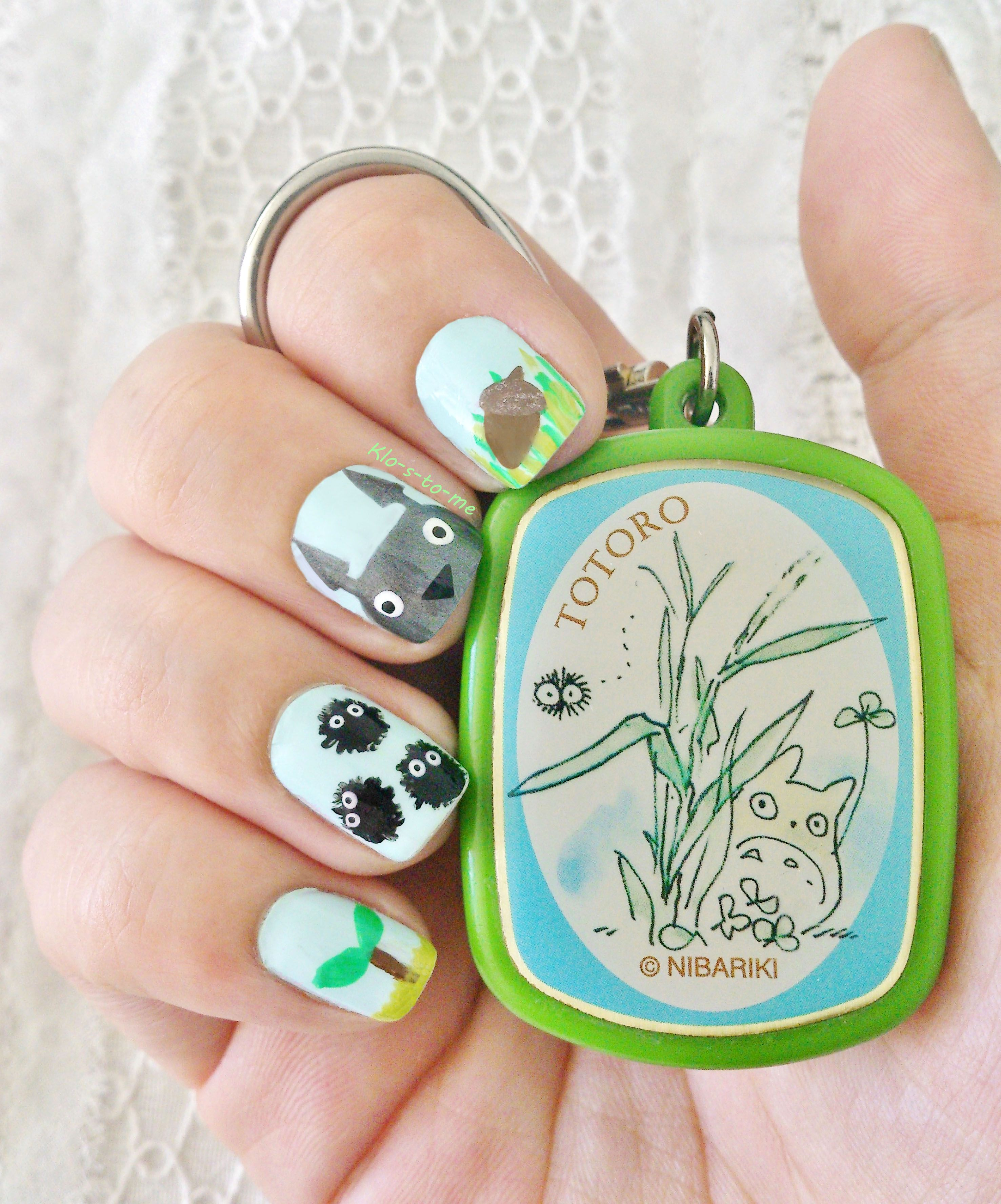 Cute Totoro Nail Art   Nails   Pinterest   Manicuras y Me gustas