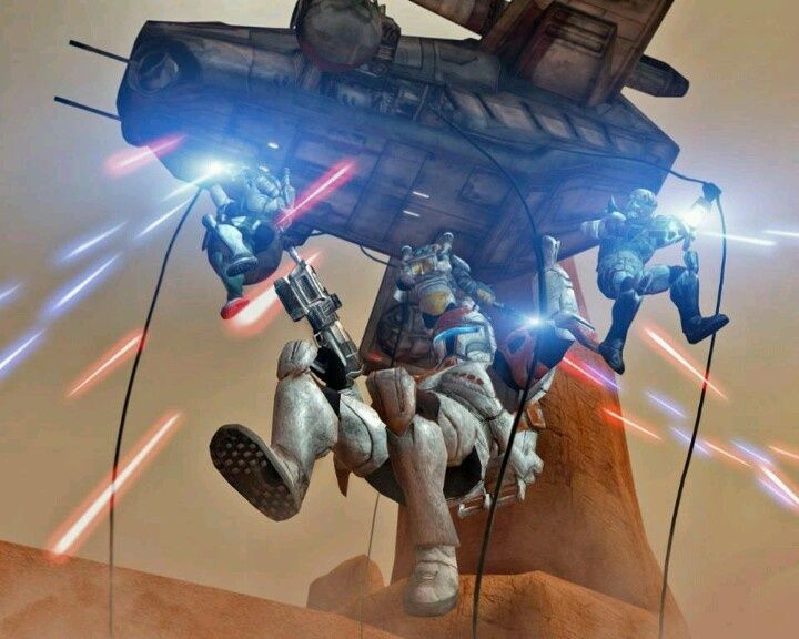 Arc Troops Propel Into Battle From Their Laat Gunship Star Wars Wallpaper Star Wars Artwork Star Wars Art