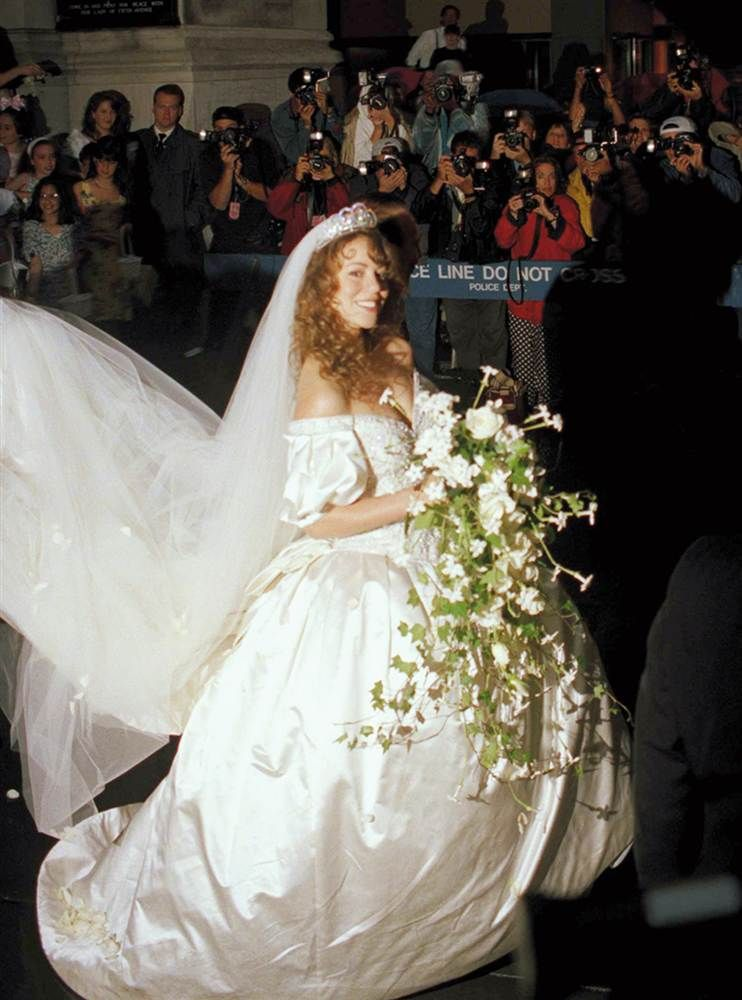 Here comes the bride! Famous wedding gowns | Vera wang gowns, Mariah ...