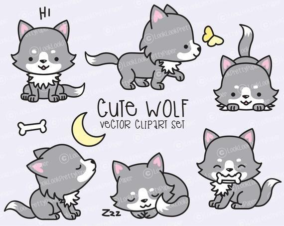 Premium Vector Clipart – Kawaii Wolf – Cute Wolves Clipart Set – High Quality Vectors – Instant Download – Kawaii Clipart