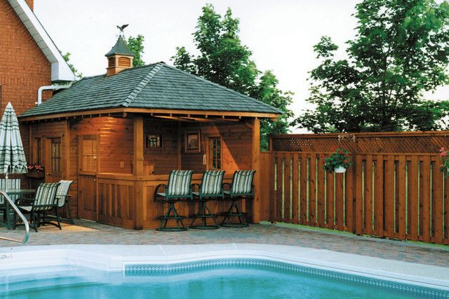 Backyard: Backyard Cabana Bar Ideas From Pine Wood With ...