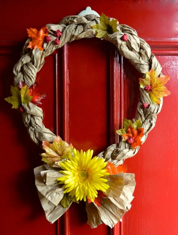 Easy recycled crafts fall wreaths wreaths easy fall for Things to make with recycled materials