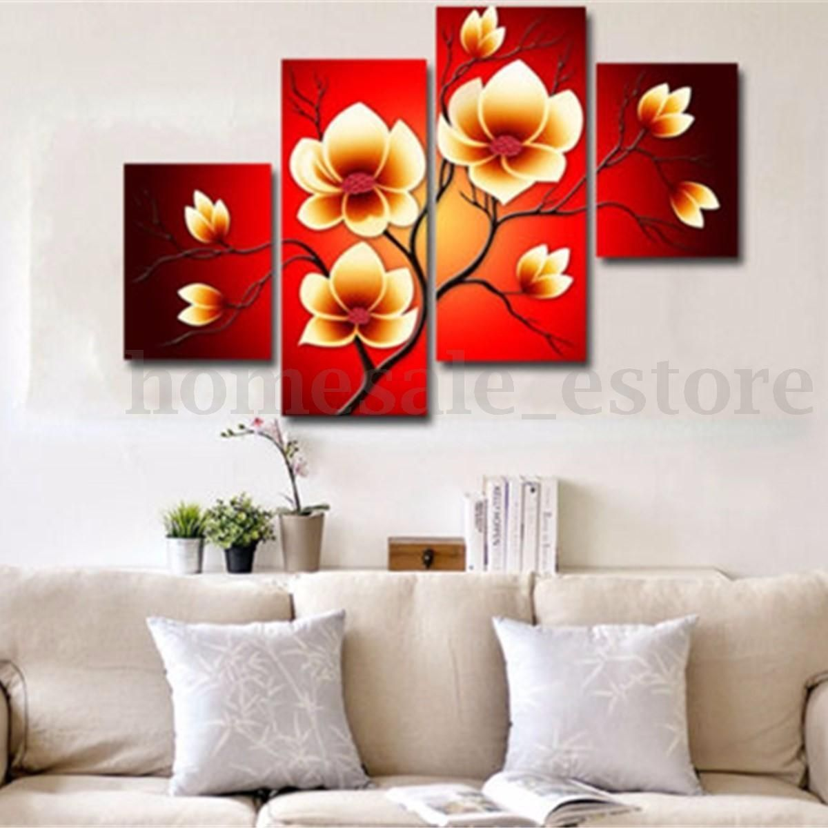 4PCS Modern Abstract Flowers Huge Wall Decor Art Oil Painting On ...