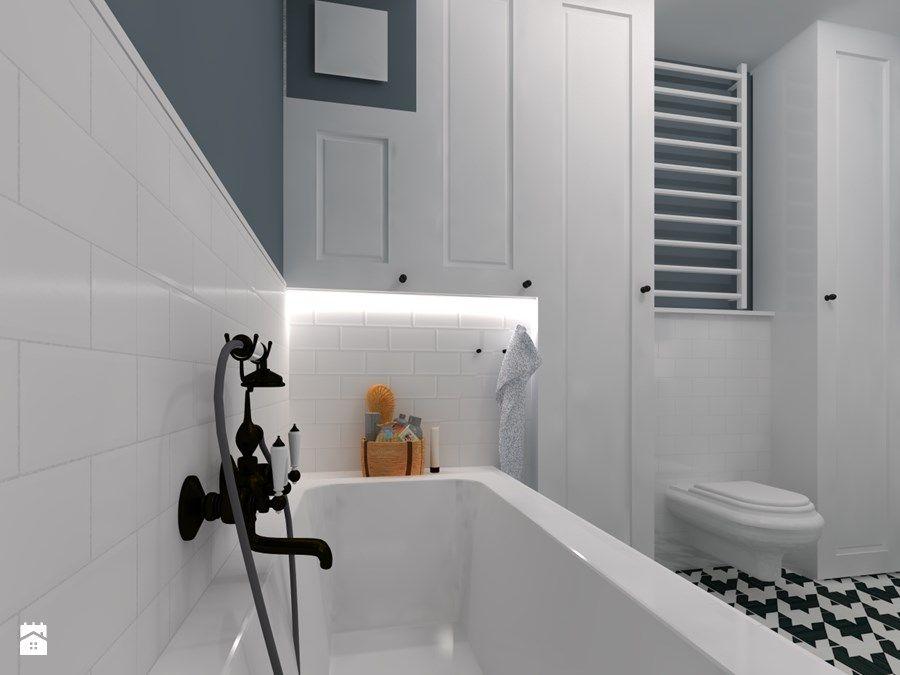 Mała łazienka W Bieli I Indygo Zdjęcie Od Chatanowa Home