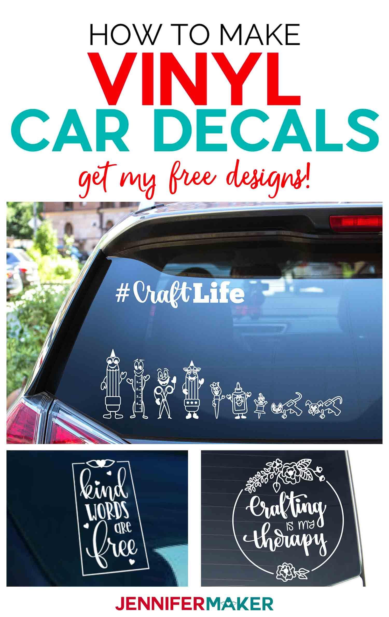 How To Make Car Decals With Cricut : decals, cricut, Vinyl, Decals, Quick, Jennifer, Maker, Vinyl,, Cricut, Projects, Tutorials