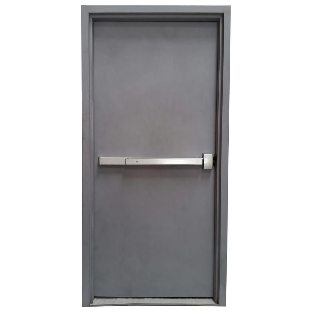 Armor Door 36 in. x 84 in. Fire-Rated Gray Left-Hand Outswing Flush ...