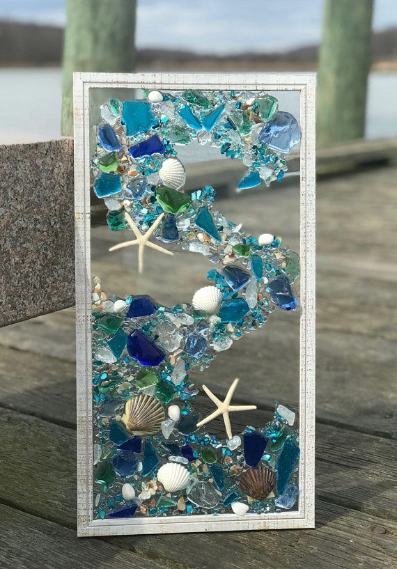 21 Quot X 11 Quot Mosaic Coastal Window Mixed Media Sea Glass