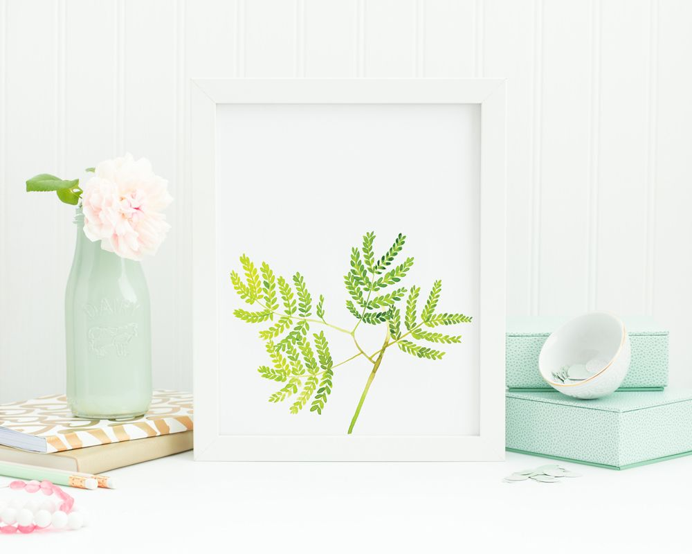 Leaves watercolor painting | Printable wall art