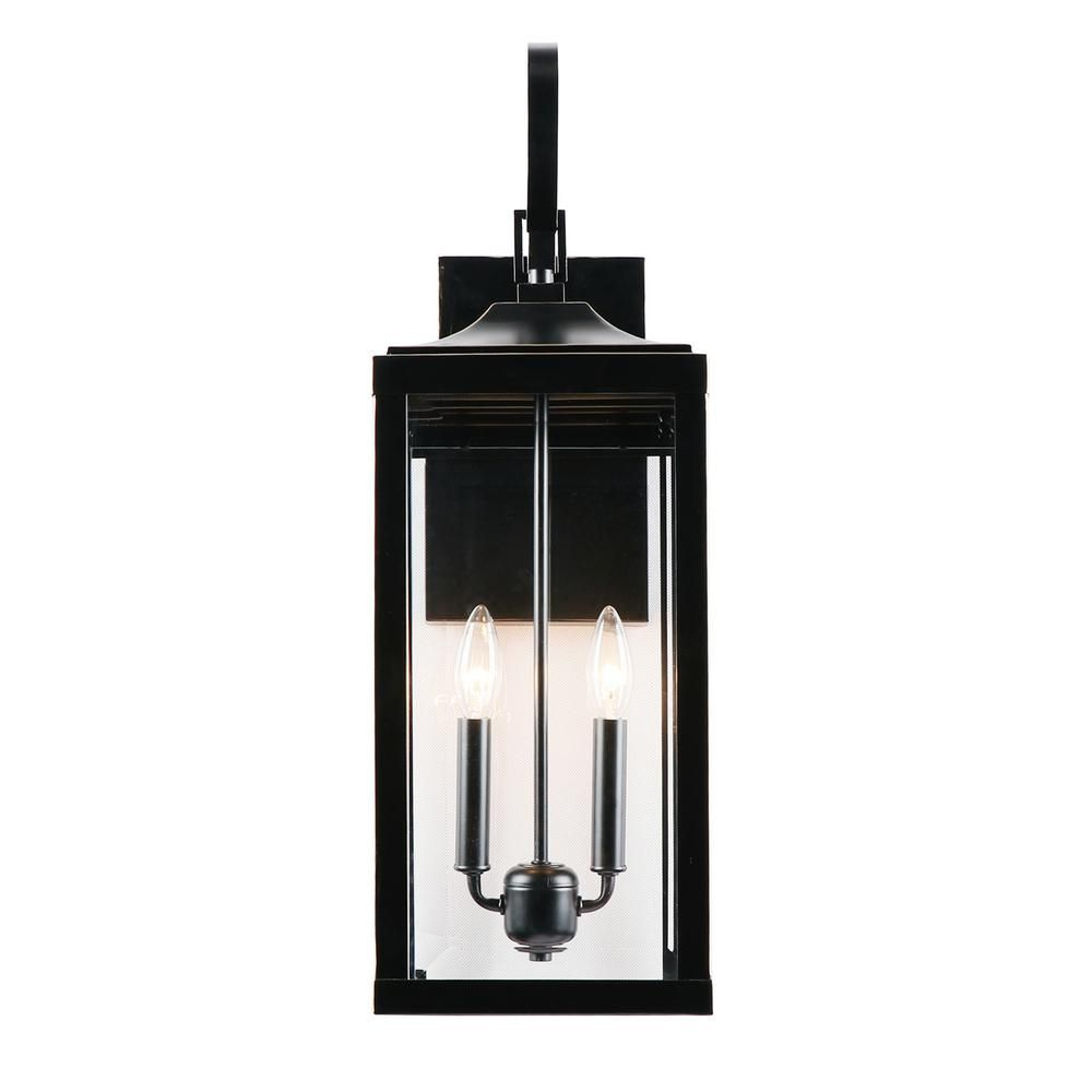 2 Light 25 In Outdoor Wall Lantern Sconce In Imperial Black El180708 Mw In 2020 Outdoor Wall Lantern Wall Lantern Outdoor Wall Lighting