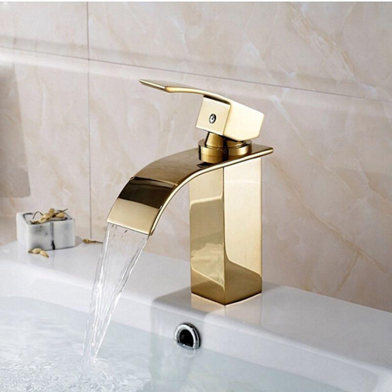 Deck Mount Waterfall Bathroom Faucet Vanity Vessel Sinks Mixer Tap ...