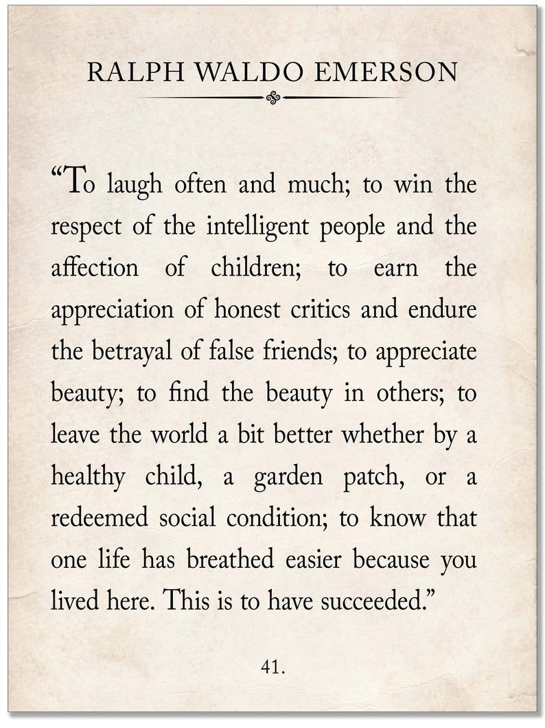 Ralph Waldo Emerson Vintage Book Page Literary Quote Art Print for Home, Classroom or Library. Multiple Sizes and Style Available.