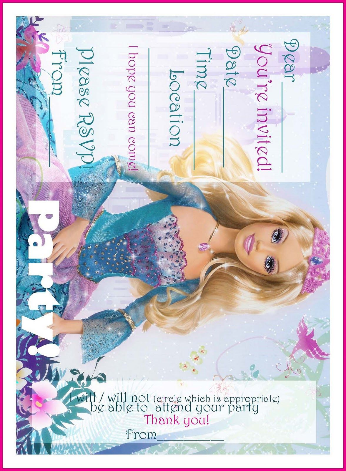 BARBIE COLORING PAGES: FREE PRINTABLE PRINCESS BARBIE BIRTHDAY PARTY ...
