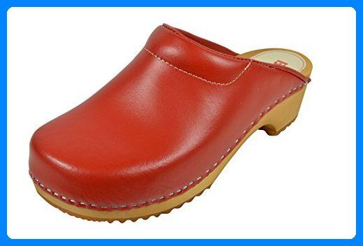 Buxa Damen Holz und Rot Leder Clogs mit Polsterung, Größe 38