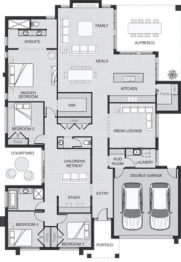 Home Plan I Would Put The Master In Front And The Other Three Rooms In The Back Australian House Plans House Layouts Floor Plans