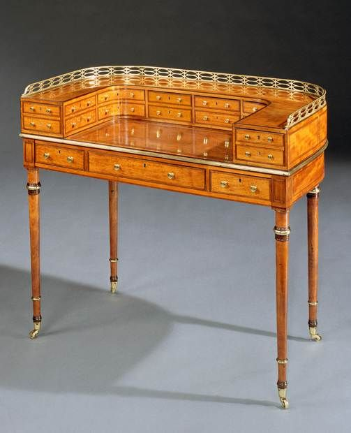 A GEORGE III SATINWOOD CARLTON HOUSE WRITING TABLE - English Antique Furniture – Ronald...