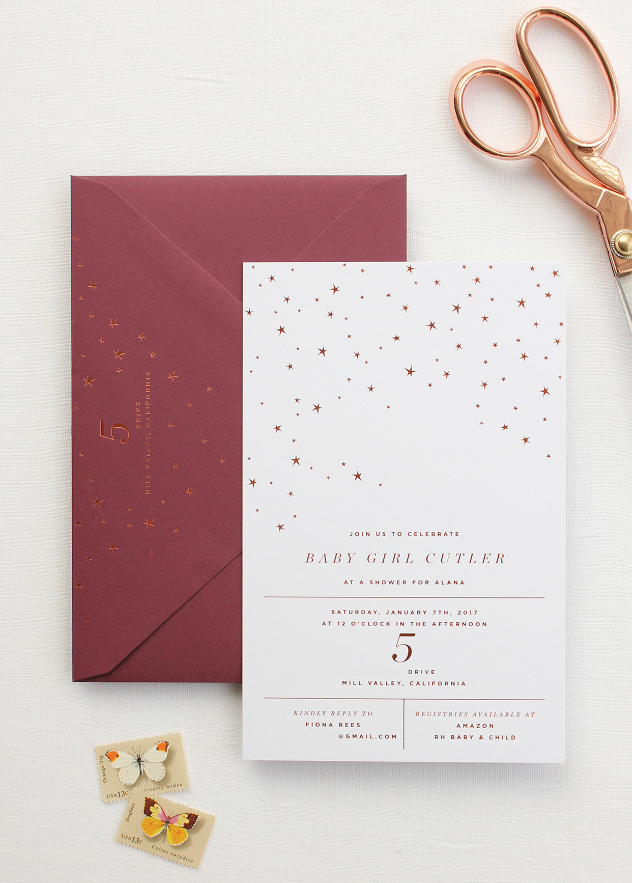 Refined Copper and Burgundy Star Inspired Baby Shower Invitations ...