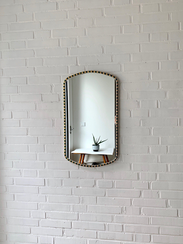 Vintage Mosaik Spiegel Mid Century Wandspiegel Badezimmer Spiegel Schlafzimmer Spiegel Flur Spiegel Vintage Interior Mirror Vintage Decor