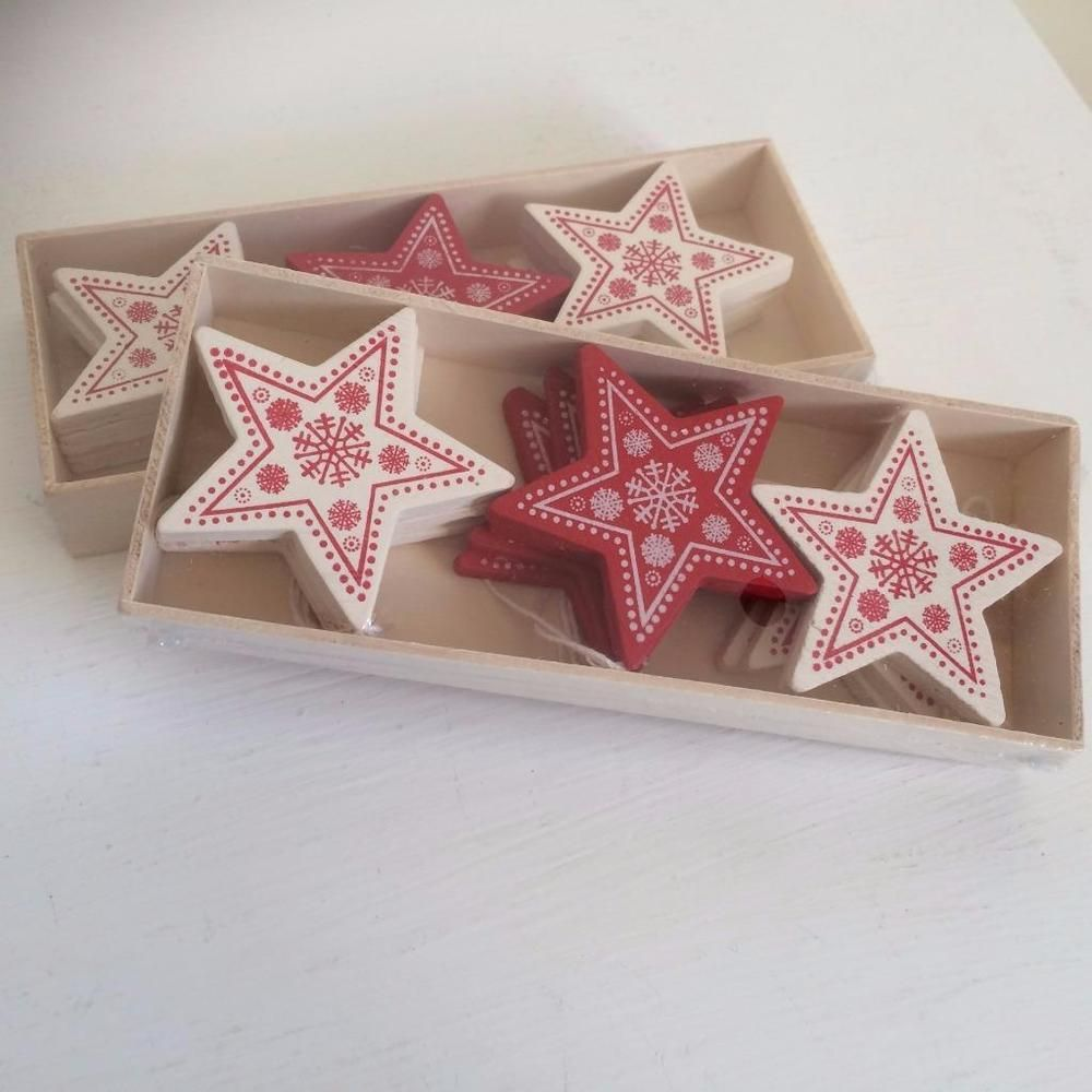 Set of 12 mini red white wooden christmas stars tree decorations | Nordic christmas decorations ...
