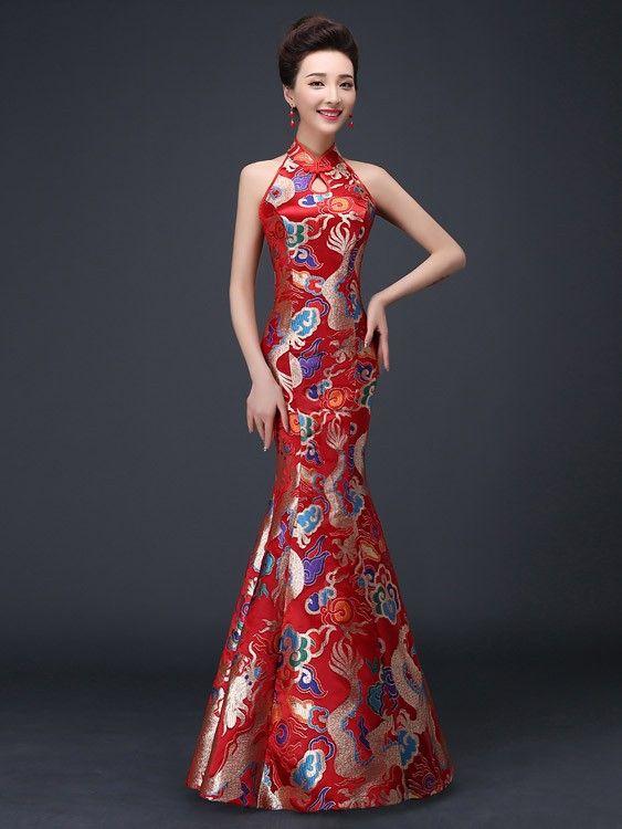 Halter Fishtail Qipao Cheongsam Wedding Dress With Cutout Back