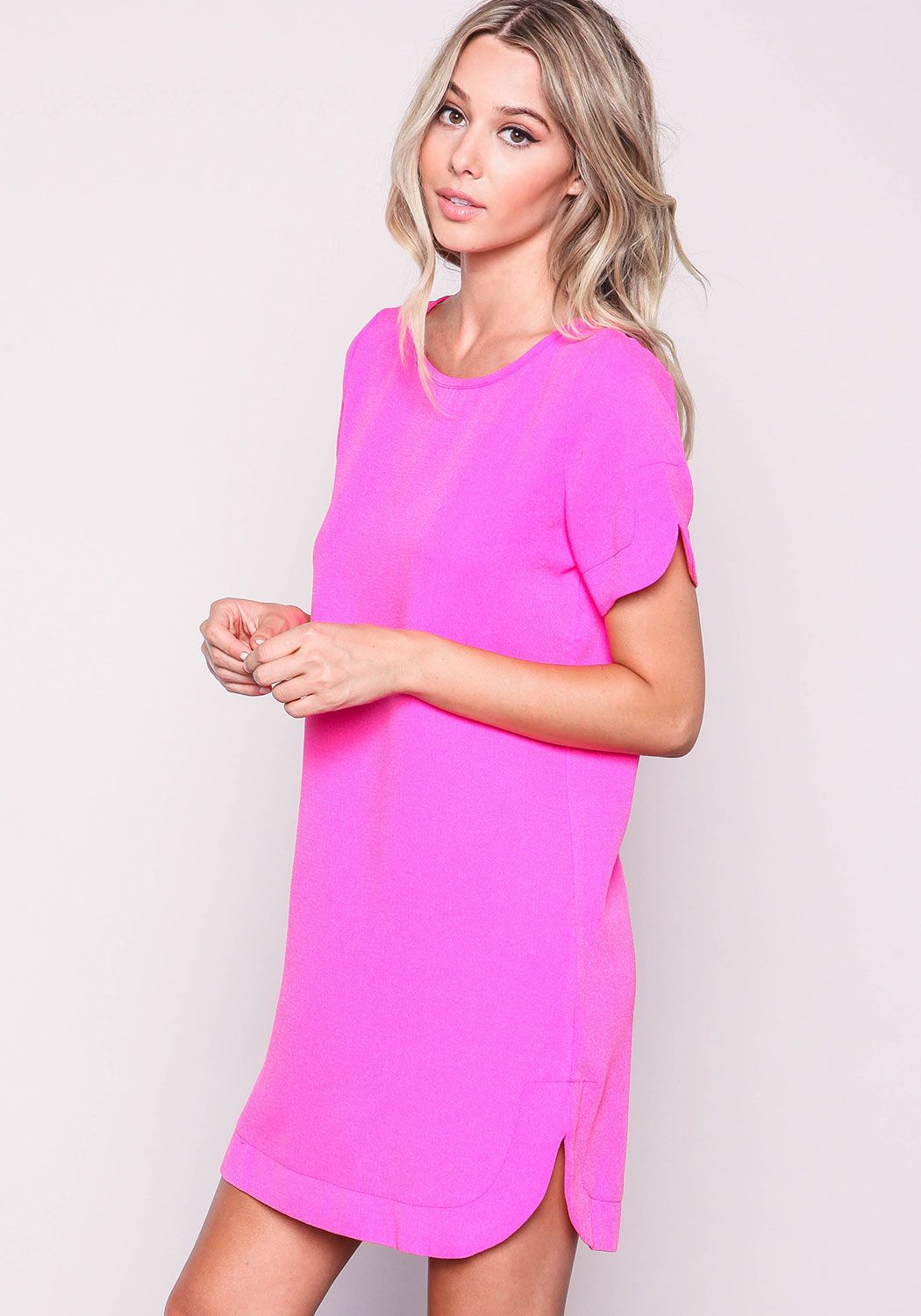 Hot Pink Woven Boxy Shift Dress - Love Culture | SHOPPING LIST ...