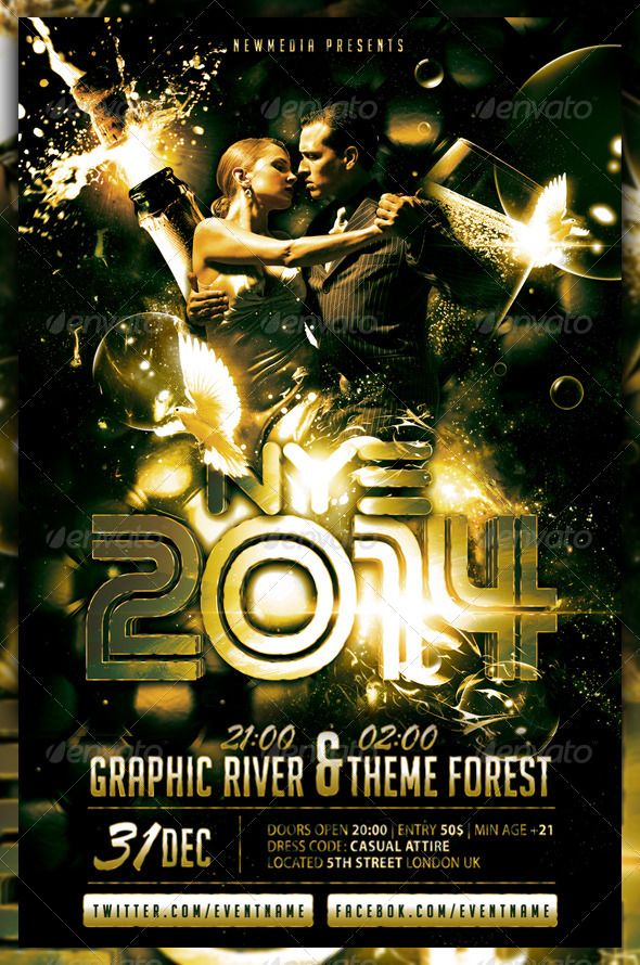 champagne new year eve party flyer poster photoshop psd new year