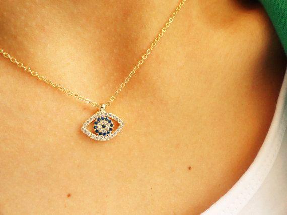 Evil Eye Necklace Gold Evil Eye Jewelry Turkish Eye By Handemadeit 22 50 Gold Evil Eye Jewelry Evil Eye Necklace Gold Jewelry Prom