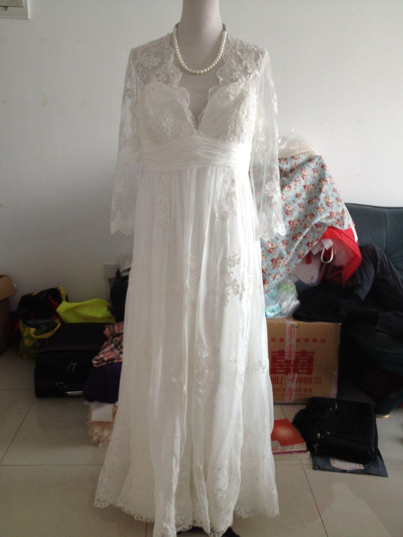 Vintage lace wedding dress bridal gown deep front back v neck open