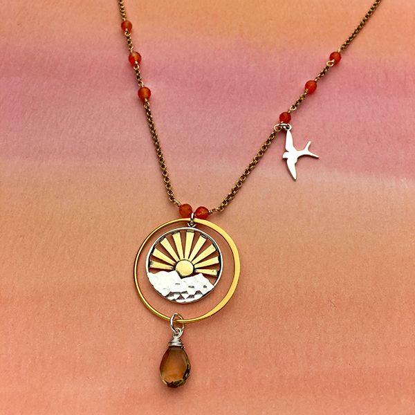 mountain charm bird charm carnelian gemstone hiking jewelry