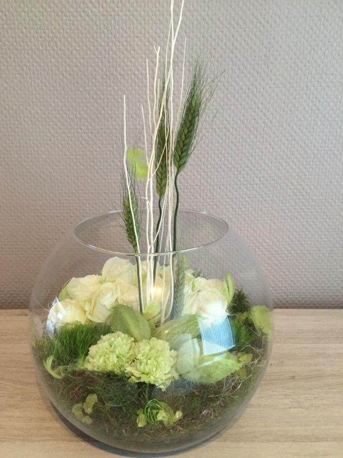 Bloemstuk in glazen bol kleur groen met wit huisdecoratie pinterest - Kleur voor levende ...