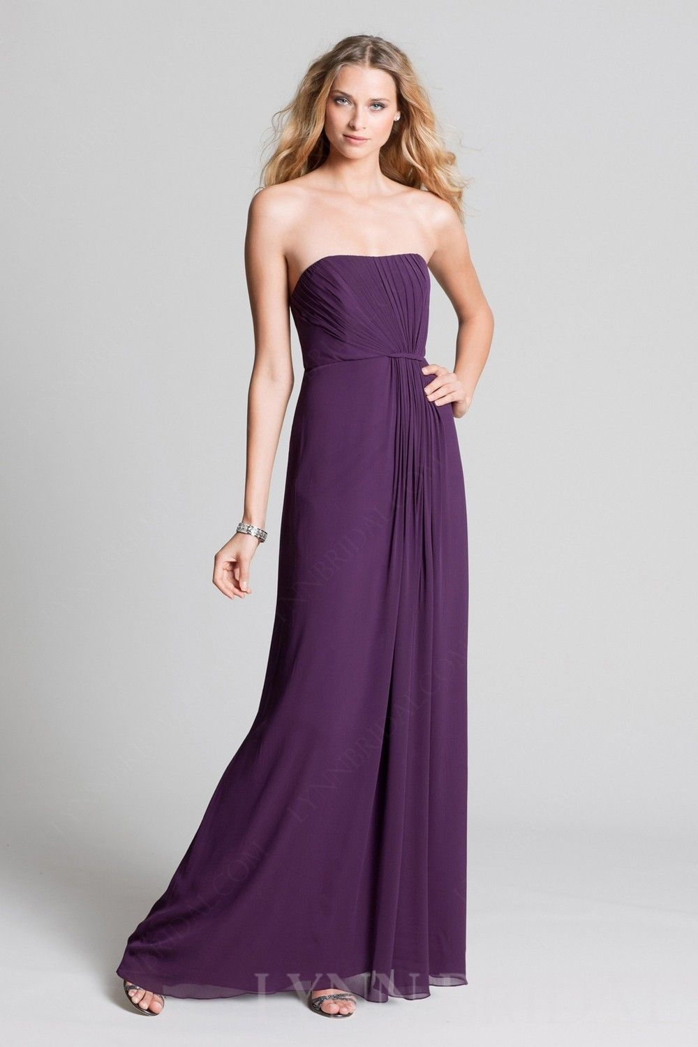 Ruched A Line Strapless Chiffon Long Sweetheart $219.99 Long Bridesmaid Dresses