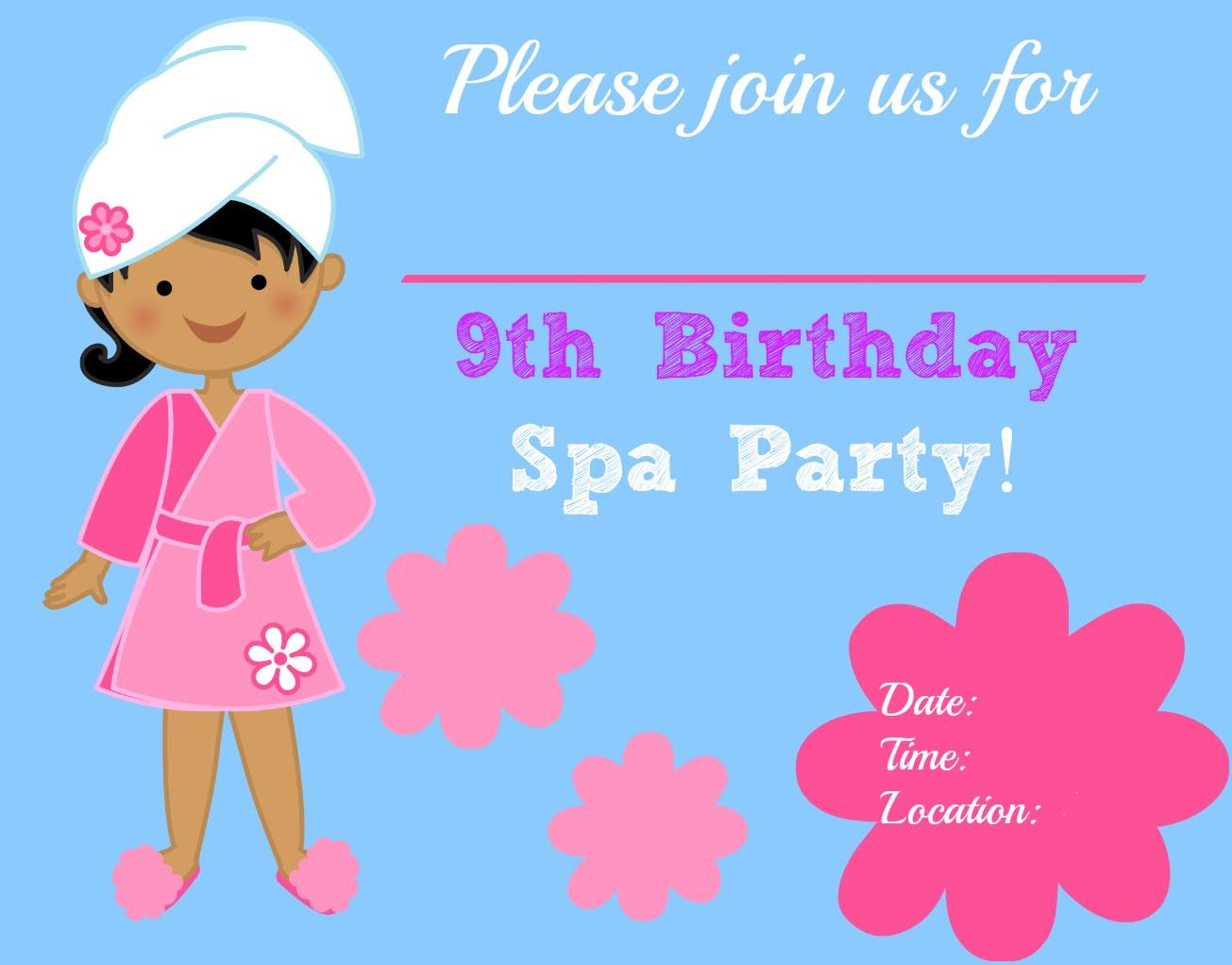Free Printable Spa Party Invitations 9 Year Old Girl Birthday
