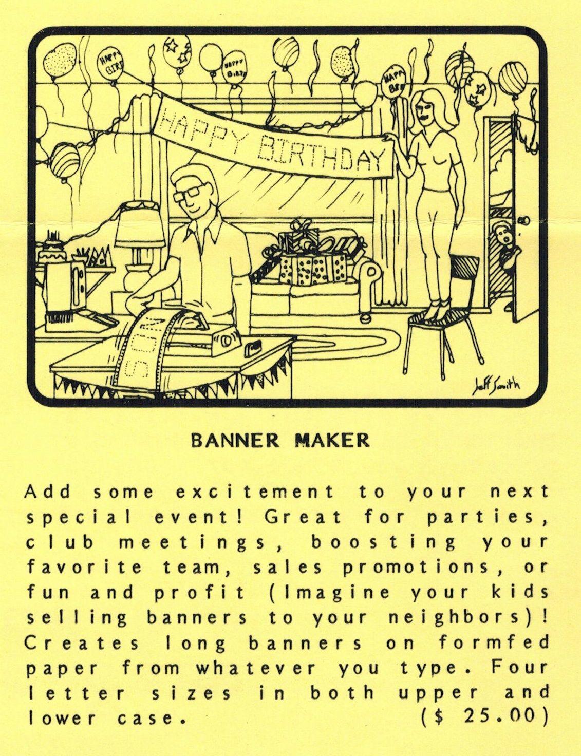 flyer ad for banner maker program 1982 telephone software