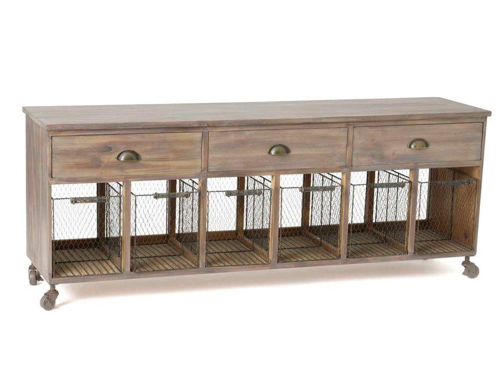 Meuble de rangement en sapin 3 tiroirs et 6 paniers grillagés en fer - roulette de porte de placard