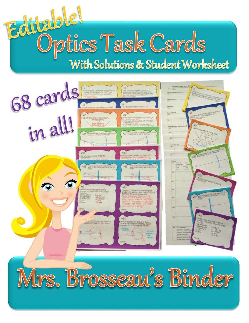 Optics Task Cards 68 Cards With Student Worksheets And Full Solutions Topics Electromagnetic Spectrum Light Prod Task Cards Electromagnetic Spectrum Task