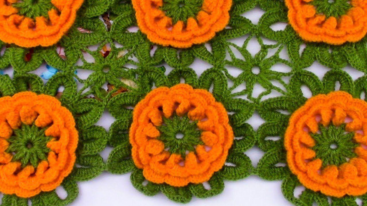 Modelo de flores para Colchas y Cojines a crochet | aprendiendo ...