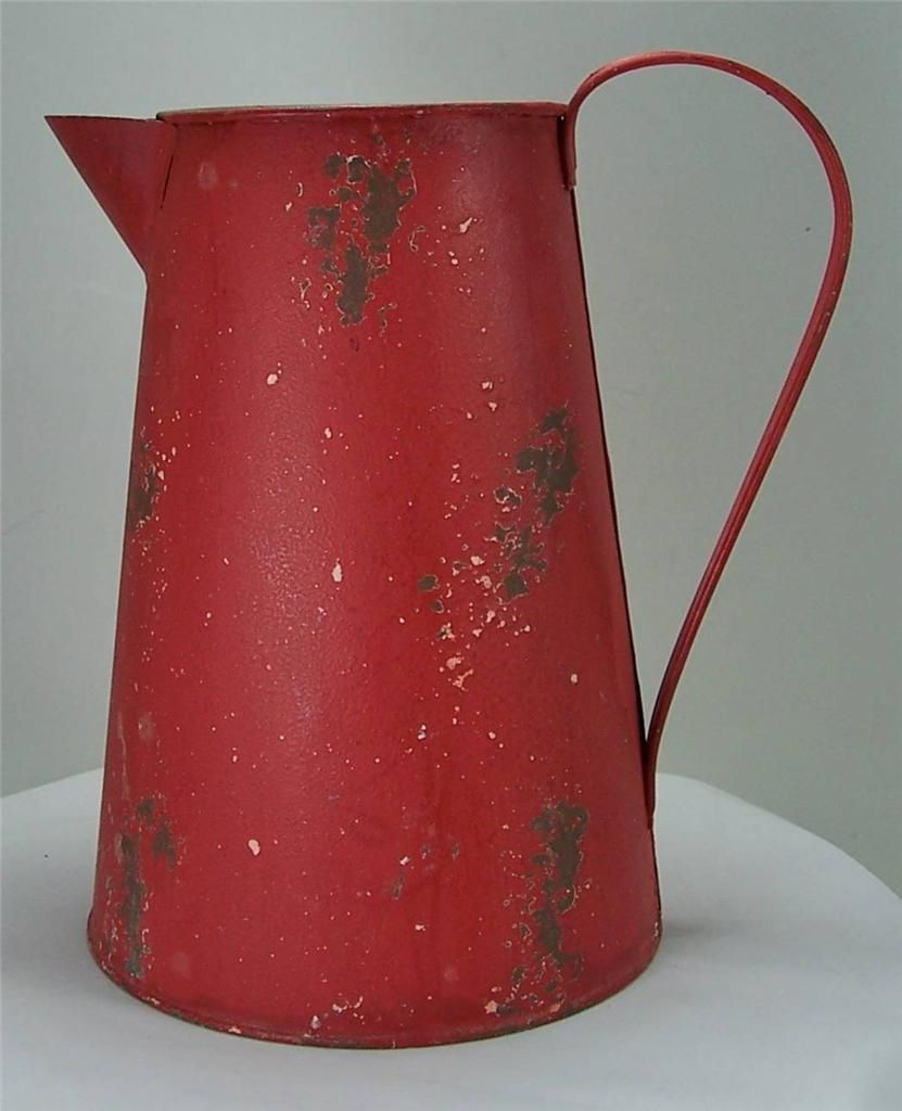 Rustic Antique Style Weathered Red Metal Watering Can 3/4 Gallon