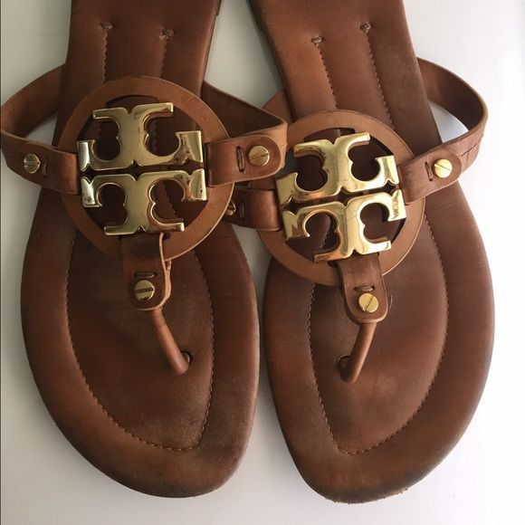 2c8e5be09db116 Tory Burch Miller Sandals in Brown Size 10 Tory Burch size 10 miller sandals.  They run a little wide but are in great shape. Minor wear and tear on the  ...