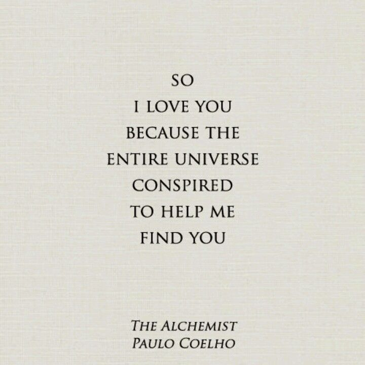 the alchemist coehlo andrew s favorite book and quote how can   i love you because the entire universe conspired to help me you quote from the alchemist by paulo coelho