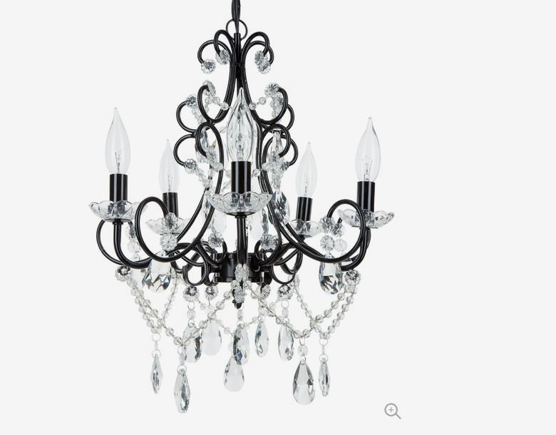 Theresa 5 Light Wrought Iron Crystal Chandelier Black Traditional Chandeliers By