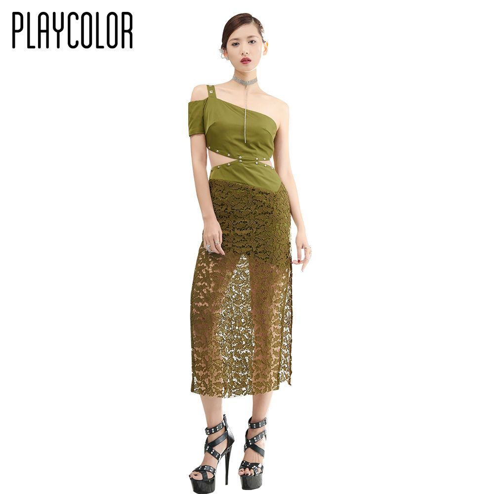 Click to buy ucuc playcolor green lace oneshoulder cocktail dresses