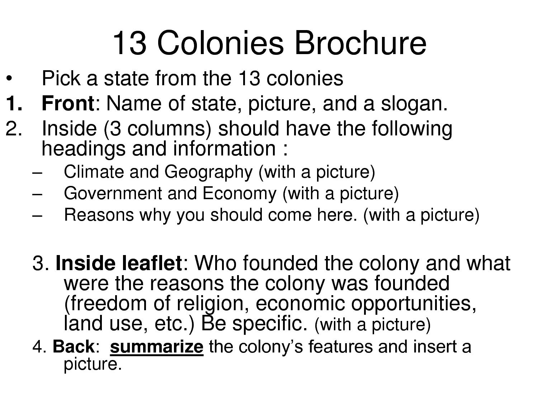 13 Colonies Brochure Rubric