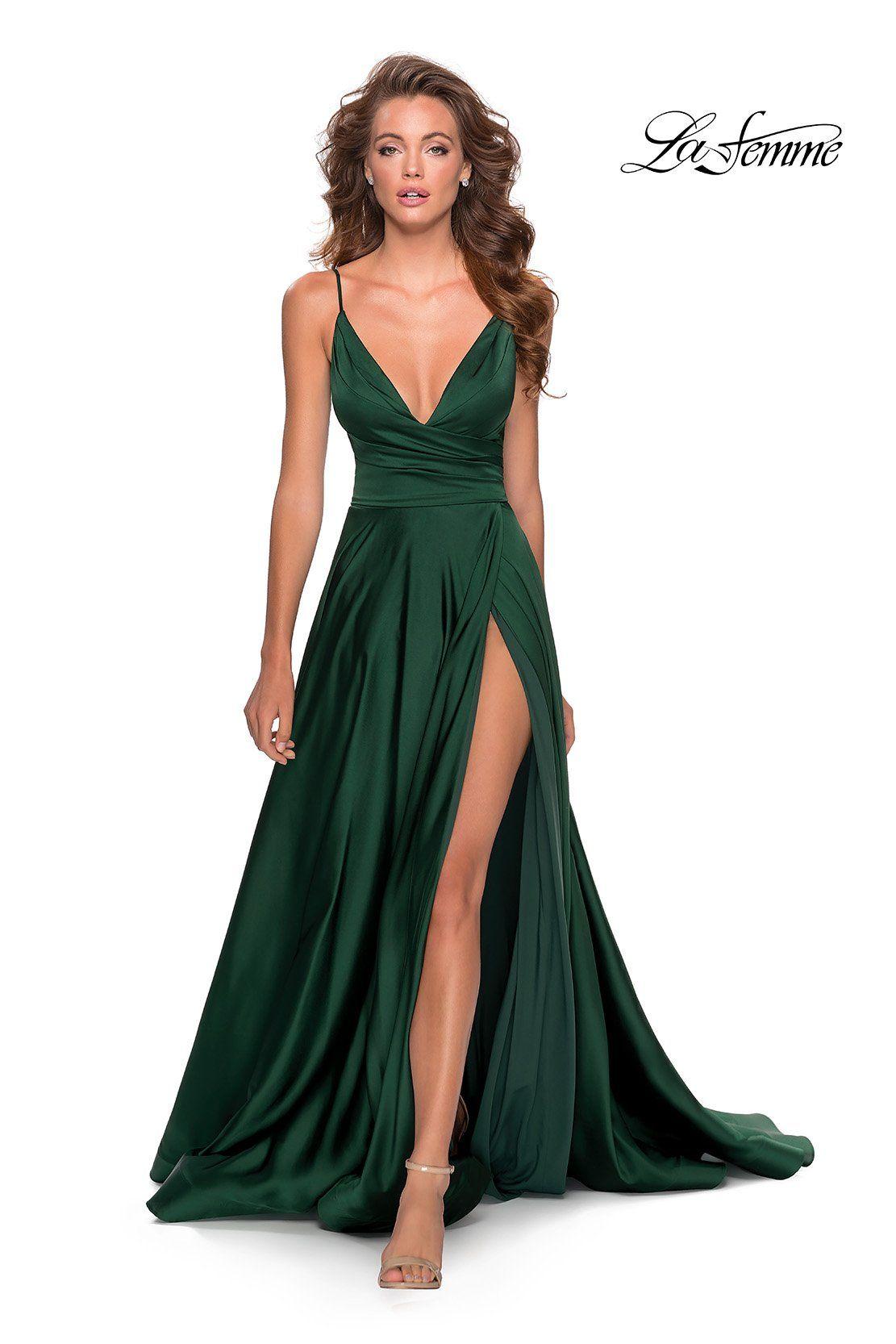 La Femme - 28607 Sleeveless Deep V Neck High Leg S