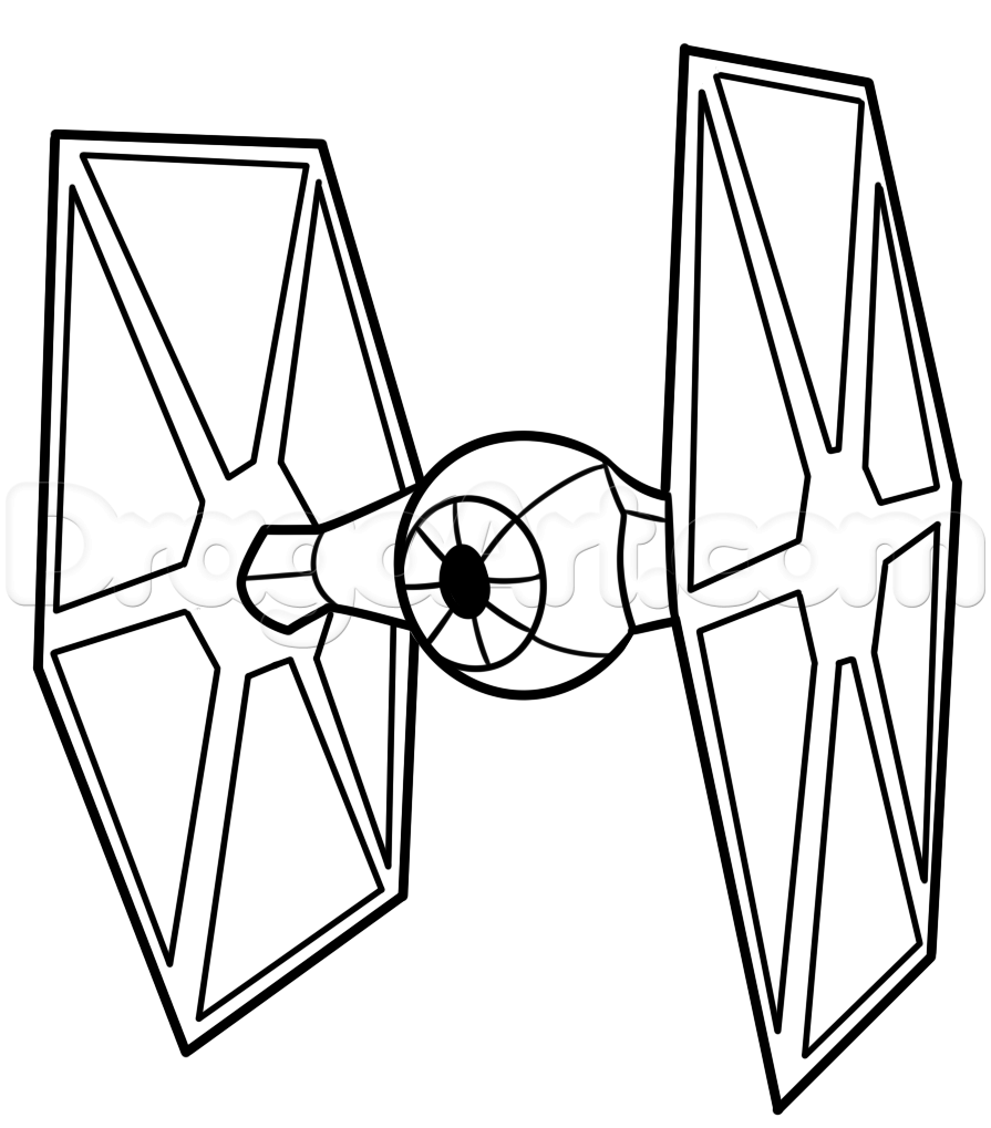 How to draw a tie fighter easy step 7 art pinterest for Necktie coloring page