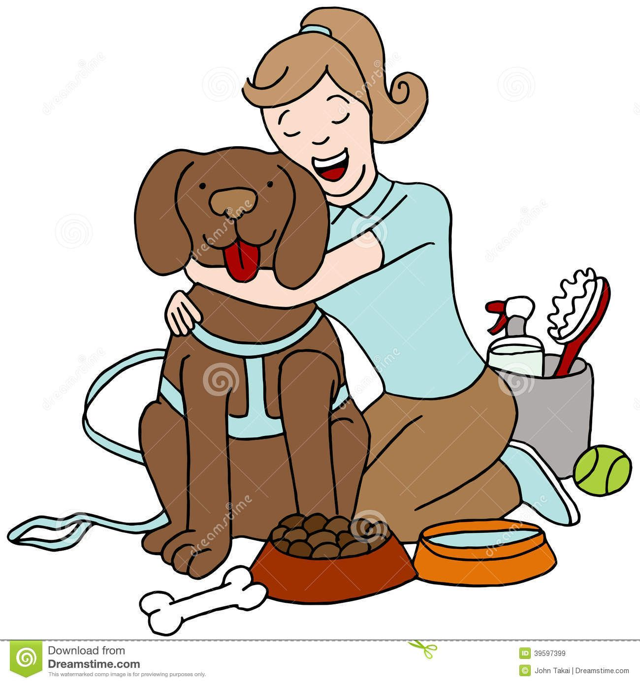 Taking Care Of Dog Stock Vector Illustration Of Canine