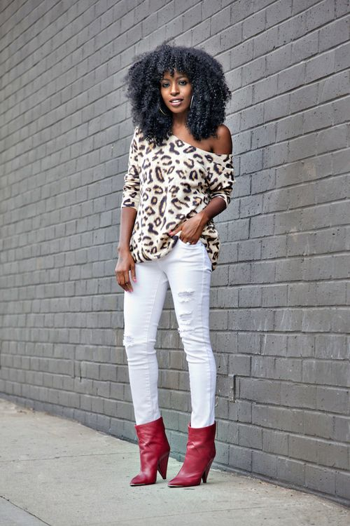 Best Leopard Print Sweater Distressed White Jeans Style 400 x 300
